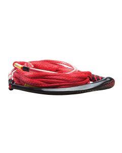 """Hyperlite Apex PE EVA Handle - 65' Wakeboard Rope - Red - 4 Sections - 15"""" Handle"""
