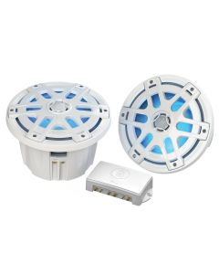 "Poly-Planar MA-OC8 8"" Round Waterproof Blue LED Lit Speaker - White"