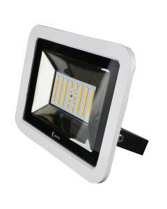 Lunasea 35W Slimline LED Floodlight, 12/24V, Cool White, 4800 Lumens, 3' Cord - White Housing