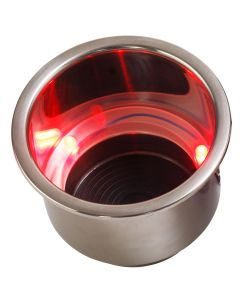 Sea-Dog LED Flush Mount Combo Drink Holder w/Drain Fitting - Red LED