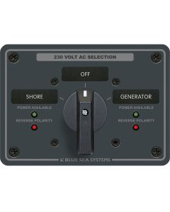 Blue Sea 8357 AC Rotary Switch Panel 65 Ampere 2 Position + OFF, 2 Pole