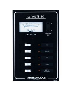 Paneltronics Standard DC 5 Position Breaker Panel & Meter w/LEDs