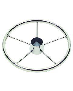 "Schmitt 170 13.5"" Stainless 5-Spoke Destroyer Wheel w/ Black Cap and Standard Rim - Fits 3/4"" Tapered Shaft Helm"
