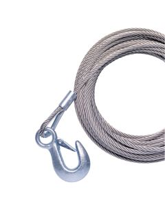 """Powerwinch 20' x 7/32"""" Replacement Galvanized Cable w/Hook f/215, 315 & T1650"""