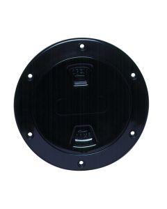 "Beckson 4"" Smooth Center Screw-Out Deck Plate - Black"