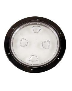 "Beckson 8"" Clear Center Screw-Out Deck Plate - Black"