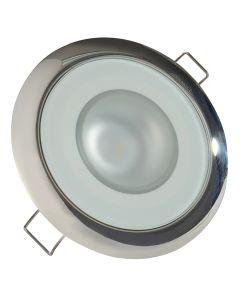 Lumitec Mirage - Flush Mount Down Light - Glass Finish/Polished SS Bezel - 2-Color White/Blue Dimming