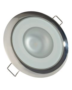 Lumitec Mirage - Flush Mount Down Light - Glass Finish/Polished SS Bezel - Warm White Dimming
