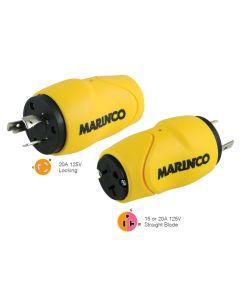 Marinco Straight Adapter 20Amp Locking Male Plug to 15Amp Straight Female Adapter