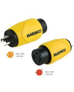 Marinco Straight Adapter 20Amp Locking Male to 30Amp Locking Female Connector