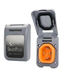 SmartPlug 50 Amp Non Metallic Gray Inlet - Boat & RV Side
