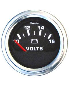 """Faria 2"""" Voltmeter (10-16 VDC) Unlit 12V Black w/Stainless Steel Bezel & Orange Pointer - Case of 24"""