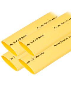 "Ancor Heat Shrink Tubing 3/4"" x 6"" - Yellow - 4 Pieces"