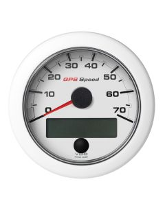 """VDO 3-3/8"""" (85mm) OceanLink GPS Speedometer 0-70 - White Dial & Bezel"""