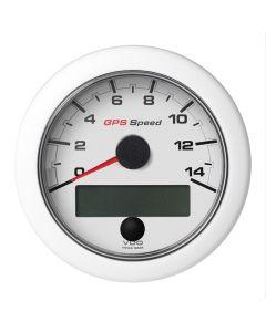 """VDO 3-3/8"""" (85mm) OceanLink GPS Speedometer 0-14 - White Dial & Bezel"""