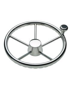 "Schmitt 170 13.5"" Stainless 5-Spoke Destroyer Wheel w/ Stainless Cap and FingerGrip Rim - Fits 3/4"" Tapered Shaft Helm"