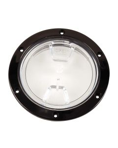 "Beckson 4"" Clear Center Screw Out Deck Plate - Black"