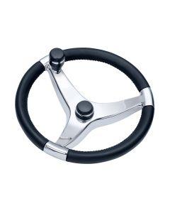 "Ongaro Evo Pro 316 Cast Stainless Steel Steering Wheel w/Control Knob - 15.5"" Diameter"