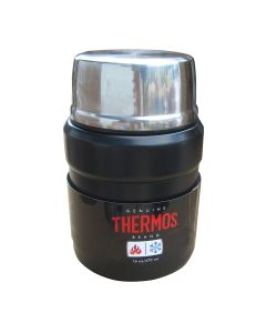 Thermos Stainless KingVacuum Insulated Food Jar w/Folding Spoon - 16 oz. - Stainless Steel/Matte Black