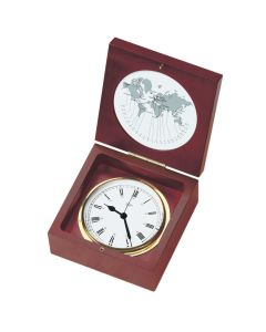 """BARIGO Quartz Ship Clock in a Box - Brass & Mahogany - 4"""" Dial"""