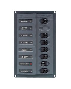 BEP AC Circuit Breaker Panel w/o Meters, 6 Way w/Double Pole Mains