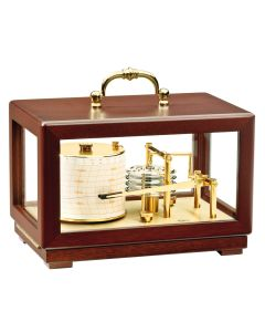 BARIGO Barograph Recording Instrument - Brass & Mahogany - Solid Top w/Handle