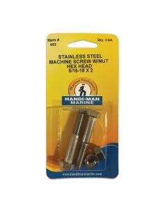 "Handi-Man Stainless Steel Hex Head Cap Screw - 5/16"" x 2"" - 18 Threads"