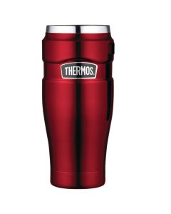 Thermos Stainless KingVacuum Insulated Travel Tumbler - 16 oz. - Stainless Steel/Cranberry