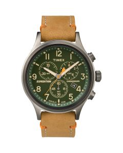 Timex Expedition ScoutChronograph Leather Watch - Green Dial
