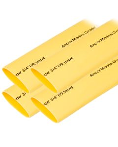 "Ancor Heat Shrink Tubing 3/4"" x 6"" - Yellow - 4 Pieces"