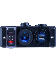 Sea-Dog Double USB & Power Socket Panel w/Breaker Switch