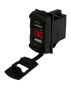 Sea-Dog Dual USB Rocker Switch Style Voltmeter w/Hidden Display